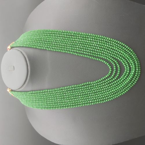 Traditional 10 Layer Lite Green Crystal Beaded Beads...
